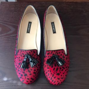 Shoemint red dalmatian pony hair loafers
